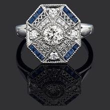 Sapphire & Diamond Plaque Ring