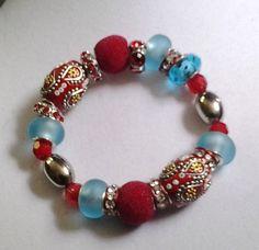 Chunky Beaded RedTurquoise & Silver Boho by NinsWildCreations, $12.00