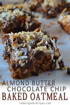 These Almond Butter Chocolate Chip Baked Oatmeal Bars are a delicious plant-based breakfast. Almond butter chocolate chip oatmeal topped with browned coconut flakes and almonds. The Oatmeal, No Bake Oatmeal Bars, Chocolate Chip Oatmeal, Baked Oatmeal, Vegan Chocolate, Vegan Oatmeal, Baked Oats, Chocolate Desserts, Chocolate Chips