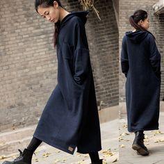 淑女气质冬季连衣裙宽松大码女装加绒加厚长袖连帽超长款卫衣袍子-淘宝网