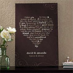Personalized Wedding Vows Canvas Wall Art $38.95