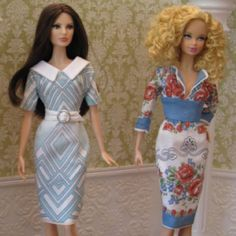 Chic doll dresses made from vintage hankies