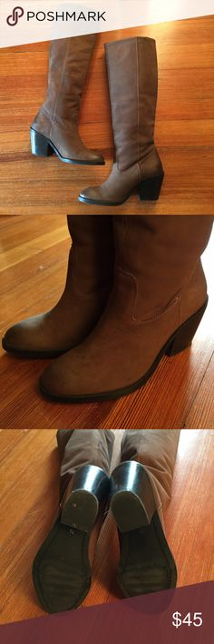 """H&M Knee-high Brown Leather Boots Soft brown leather boot. Wide calf (fits 15""""). Nice western style design. Beautiful with wrap dresses or skinny jeans. Worn a few times. Shows black scuffs from wear as seen in last photo and some imperfections as it is natural leather. H&M Shoes"""