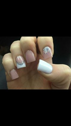 Easy Spring Nail Designs Art Ideas for Short Nails : Acrylic Silver Glitter Short Nail Designs, Nail Designs Spring, French Nails Acryl, Acrylic Nail Designs, Nail Art Designs, Nails Design, Acrylic Nails, Acrylic Spring Nails, Design Art