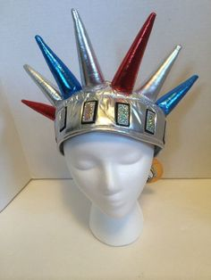 Patriotic Statue Of Liberty Lady Liberty Hat Headdress Red White Blue Velcro #Elope