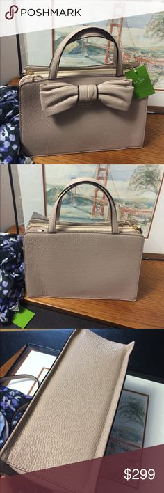 🎀SALE ends 10/9 - NWT Kate Spade Bag 🎀 NWT Gorgeous almond with black trim.  Short and long straps. Two outside areas with magnetic clasp. Interior has one zip and two slip pockets. kate spade Bags
