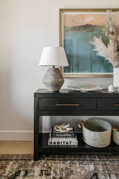 This week's favorite spaces include this beautiful entryway with a black console table and modern artwork - entryway ideas - entryway decor - modern entryway decor Entryway Furniture, Entryway Decor, Interior Design Inspiration, Room Inspiration, Best Home Builders, Magnolia Journal, Entry Hallway, Foyer, New Homes For Sale
