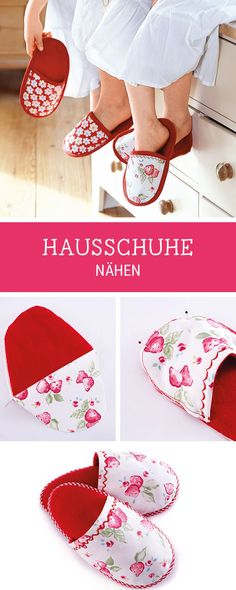 Nähanleitung für Hausschuhe aus Stoffresten, Recycling von Stoff / diy sewing tutorial for comfy slippers via DaWanda.com