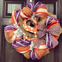 Clemson Tigers Burlap Wreath // Orange // by KilbiBranchDesigns, $85.00