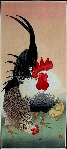 """""""Bantam Cock, Hen and Chick"""" by Shoson"""