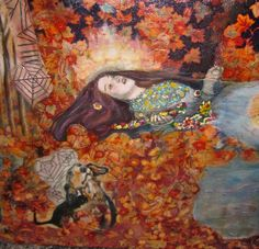"""""""Ofelia"""" (detalle), collage y óleo, 2014."""