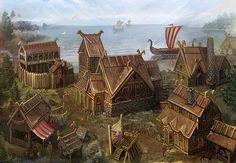 Village coastal lake docks boats Fantasy landscape Fantasy town Viking village