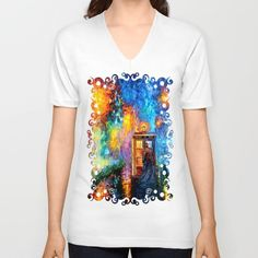 The 10th Doctor who Starry the night Art painting Unisex V-Neck by Three Second - $24.00