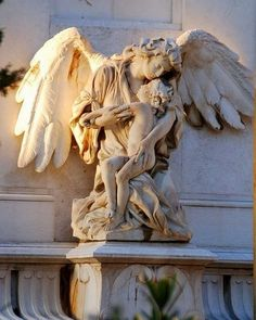 ☫ Angelic ☫ winged cemetery angels and zen statuary - Athens First Cemetery, Attiki, Greece. Cemetery Angels, Cemetery Statues, Cemetery Art, Angel Statues, Greek Statues, Angels Among Us, Angels And Demons, Statue Ange, Steinmetz