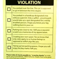 Touching words Parking tickets for assholes agree with