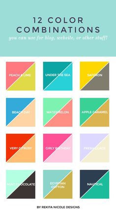 color combinations for small business logos and websites. LOVE the pink and green! M :: 2 Color Combinations — Rekita Nicole Colour Pallete, Colour Schemes, Color Combos, Color Patterns, Best Color Combinations, Color Palettes, Wall Color Combination, Color Mixing Chart, Clothes Combinations