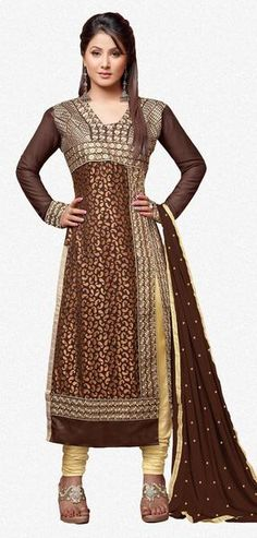 Enticing Brown Designer Embroidered Straight Cut Suit