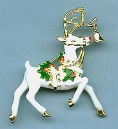 Christmas Reindeer Pin with Holly and Bell.