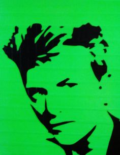 green duct taped 16x20 street art stencil of david bowie on canvas