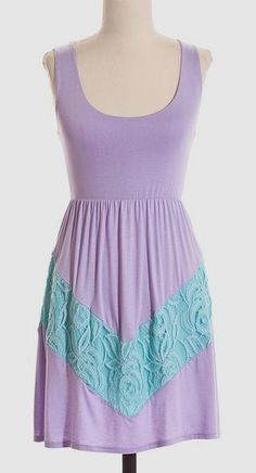 Lilac & Aqua Lace Chevron A-Line Dress in love with this dress!
