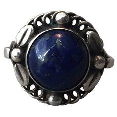 Georg Jensen Sterling Silver Ring No. 1 with Lapis Lazuli | From a unique collection of vintage dome rings at https://www.1stdibs.com/jewelry/rings/dome-rings/