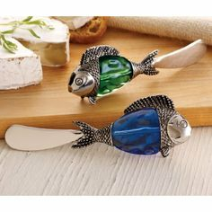 Mud Pie Green & Blue Fish Spreaders, Set of 2 (1 Each) #WhimsicalUmbrella #Green #Blue #Fish #Spreaders #Kitchen  whimsicalumbrella.com