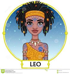 Photo about Zodiac sign Leo. Animation character girl princess. A background - the star sky, a gold frame. Vector illustration. Illustration of african, cute, astrology - 85613154