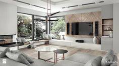 Aranżacje wnętrz - Salon: dom pod Krakowem 250m2 - Duży salon, styl nowoczesny - MaNaZa. Przeglądaj, dodawaj i zapisuj najlepsze zdjęcia, pomysły i inspiracje designerskie. W bazie mamy już prawie milion fotografii!