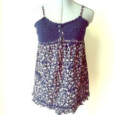 Crochet Detailed Baby Doll Top Crochet Detailed Baby Doll Top Tops Tank Tops
