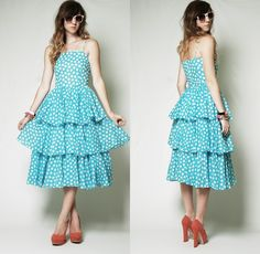 Vintage 80s blue POLKA DOT print TIERED ruffle PARTY cocktail DOLLY vtg Dress S | eBay