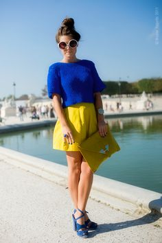 Fantastic bright color match: yellow and electric blue on Wayne Tippetts #fashion