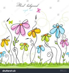 Find Colorful Summer Floral Background stock images in HD and millions of other royalty-free stock photos, illustrations and vectors in the Shutterstock collection. Thousands of new, high-quality pictures added every day. Watercolor Birthday Cards, Watercolor Cards, Doodle Images, Doodle Art, Flower Backgrounds, Colorful Backgrounds, Dragonfly Drawing, Art Fantaisiste, Art Carte