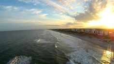 Late Fall Afternoon Over the Waves at Cocoa Beach Drone Video