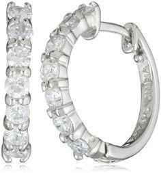 Sterling Silver Simulated Diamond Hoop Earrings, $21.00
