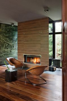 Architect Olga Freiman completed the design for a modern house located near Moscow, Russia. The residence, depicted in the photos by Manolo Modern House Design, Modern Interior Design, Interior Architecture, Luxury Interior, Modern Fireplace, Fireplace Design, Fireplace Wall, Fireplace Facing, Simple Fireplace