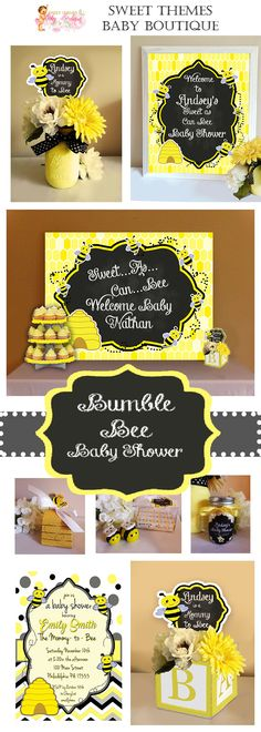 Bumble Bee Baby Shower Collection,  Bee Baby Shower Decorations, Baby Shower Invitations, Baby Shower Collections