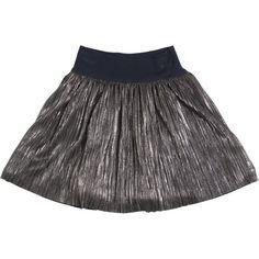 I Pinco Pallino Kids-girls Metallic Coated Stretch Techno Skirt (1.290 NOK) ❤ liked on Polyvore featuring grey