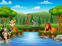 Animals Cartoon Are Enjoying Nature By The River Art Drawings For Kids, Drawing For Kids, Animal Drawings, Colorful Pictures, Pretty Pictures, Mother And Child Drawing, Oil Pastel Paintings, Forest Art, Safari Animals