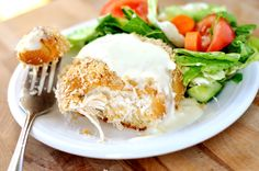 Chicken pillows with parmesan sauce.  I think I'll add some veggies, like spinach, green onions......