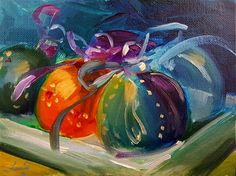 "Daily Paintworks - ""Christmas Ornaments"" - Original Fine Art for Sale - © Francine Dufour~Jones"