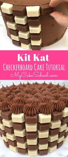CUTE and Easy Kit Kat Checkerboard Cake Video Tutorial by MyCakeSchool.com! Watch this free tutorial to learn how to make this fun and impressive cake! via @mycakeschool