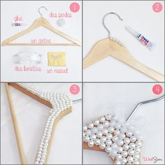Do it yourself - Créez votre cintre perlé Hair Accessories Holder, Accessories Display, Diy Arts And Crafts, Crafts To Make, Crafts For Kids, Hanger Crafts, Diy Bebe, Gift Bouquet, Diy Gifts