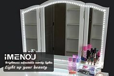 LED Vanity Mirror Lights Kit,iMENOU Hollywood 16.4ft LED Strip Lights for Vanity Mirror with Lights Dimmer&Power Supply,Dimmable Vanity Lights for Mirror Bathroom Makeup table(Soft Daylight White) - Product Description *Imenou is continuously trying to provide high quality products to you. If you have any question, please feel free to contact our customer service, we promise to get back to you in 12 hours and provide 12 months warranty. Widely Applications: Daylight white brightness…