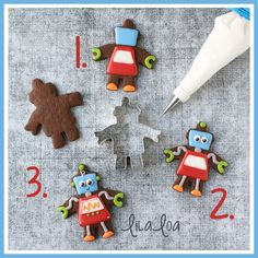 How to make ROBOT cookies. Cookie cutter at Ann Clark cookie cutters. https://www.annclarkcookiecutters.com/product/robot-cookie-cutter