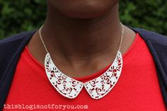 DIY Lace Collar Necklace (Oliver Bonas knock-off) Collar Necklace, Lace Necklace, Crochet Necklace, Diy Lace Collar, Shrink Art, Shrinky Dinks, Shrink Plastic, Jewelry Making Tutorials, Craft Materials