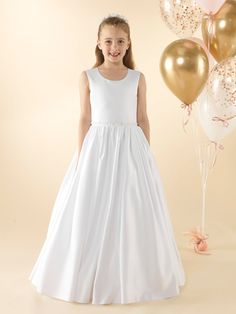LWCD41 Communion Dress Holy Communion Dresses, First Holy Communion, Lace Button, Satin Gown, Little White, Bodice, Flower Girl Dresses, Gowns, Wedding Dresses