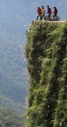 Bolivia's famous Yungas Road or 'Death Road' attracts cyclists from around the world. At least 18 have died since 1998. It is continuusly downhill for 64 km! More: http://en.wikipedia.org/wiki/Yungas_Road #cycling #bike #Bolivia