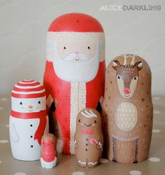Christmas nesting dolls (russian / matryoshka / stacking dolls): Santa, Reindeer, Snowman, Gingerbread Man & Robin by Alice Darkling