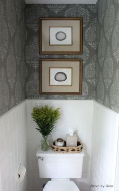 Bathroom makeover with stenciled gray on gray walls & DIY art (framed agate slices)