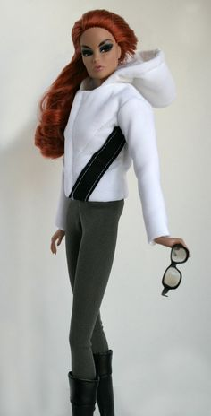 White Downhill Ski Jacket and pants for by ChicBarbieDesigns
